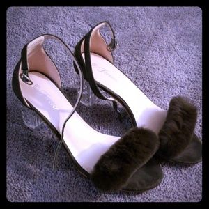 Army green furry heels with clear crystal heel